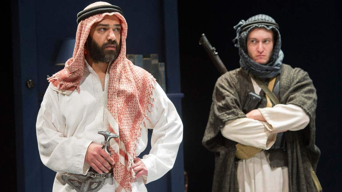 (L) Khalid Laith (Prince Feisal) in Lawrence After Arabia at Hamsptead Theatre - credit Alastair Muir | In Pictures: Lawrence After Arabia