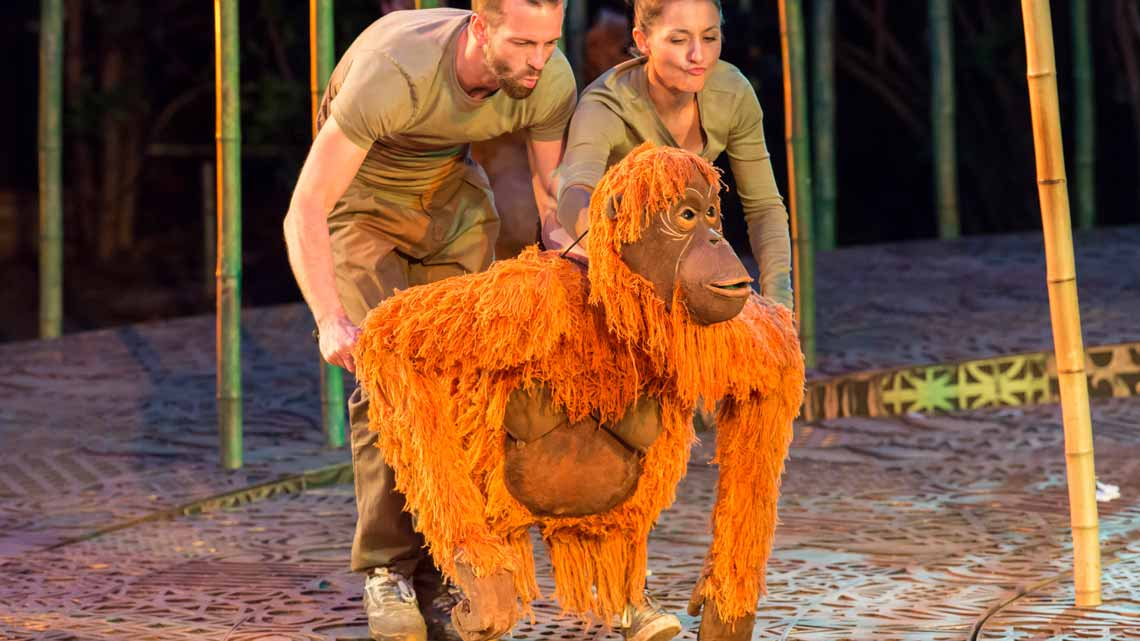 Mani (with Stuart Angell and Sarah Mardel). Photo Johan Persson | Running Wild at Regents Park Open Air Theatre