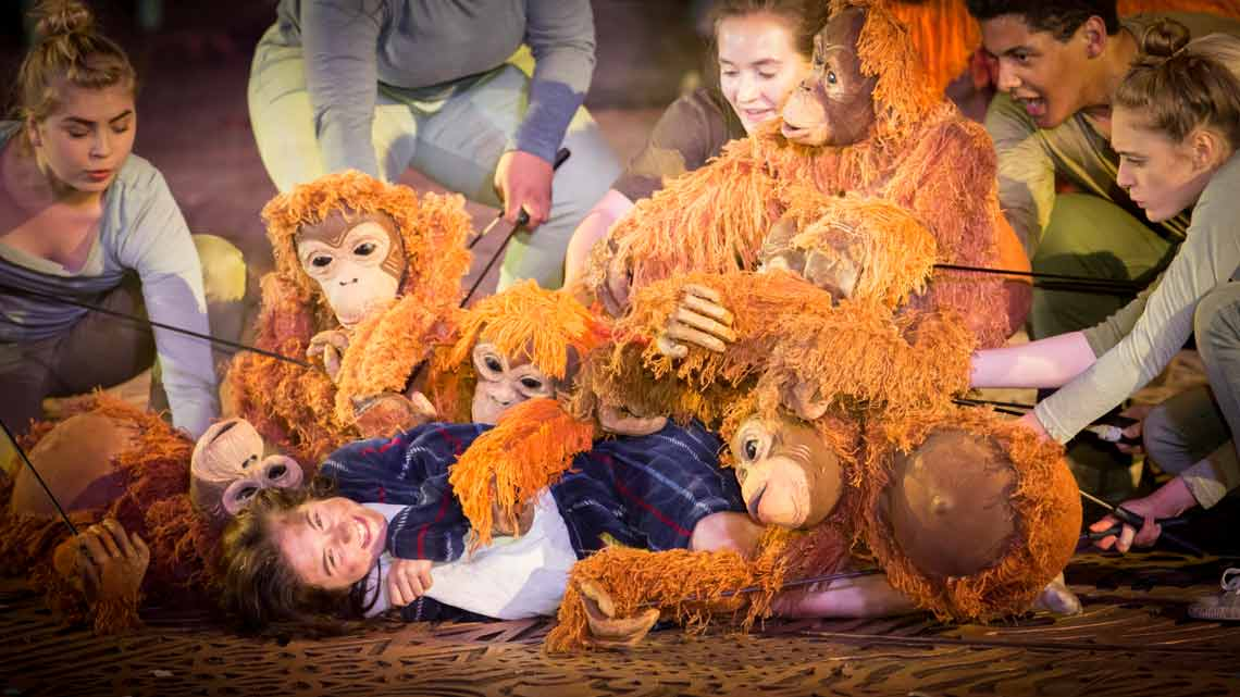 Ava Potter as Lilly with the Orang-utans. Photo Johan Persson | Running Wild at Regents Park Open Air Theatre
