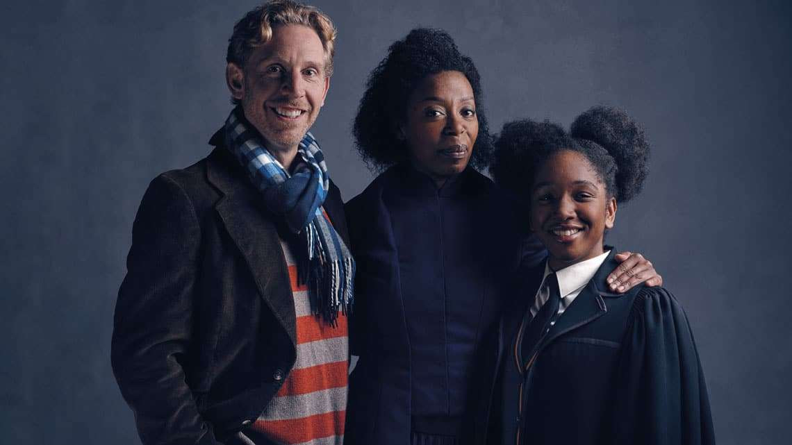 l-r Ron Weasley (Paul Thornley), Hermione Granger (Noma Dumezweni), Rose Granger-Weasley (Cherrelle Skeete). Photo credit Charlie Gray | First Look: Ron Weasley, Hermione Granger and Rose Granger-Weasley