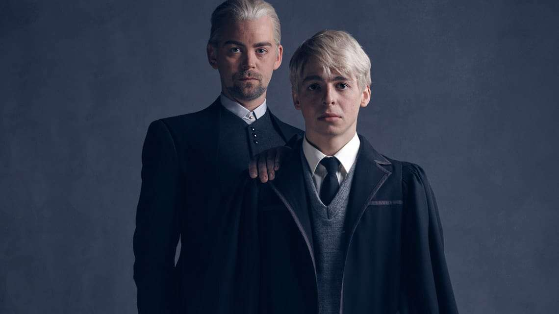 l-r Draco Malfoy (Alex Price), Scorpius Malfoy (Anthony Boyle) photo by Charlie Gray | Harry Potter and the Cursed Child: Meet the Malfoys