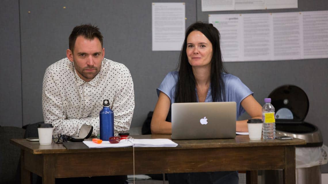 Andrew D Edwards (Designer) and Beth Steel (Playwright) in Labyrinth at Hampstead Theatre. Photo by Ellie Kurttz | In rehearsal: Labyrinth at Hampstead Theatre