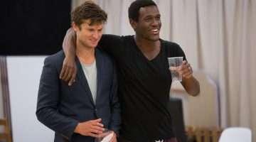 Tom Weston-Jones (Charlie) and Abubaker Salim in Labyrinth at Hampstead Theatre. Photo by Ellie Kurttz