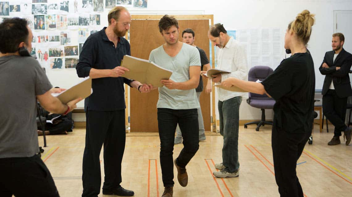 Ryan Ellsworth and Tom Weston-Jones (Charlie) in Labyrinth at Hampstead Theatre. Photo by Ellie Kurttz | In rehearsal: Labyrinth at Hampstead Theatre