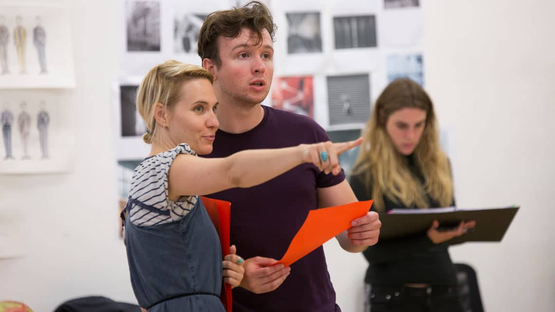 Alexia Traverse-Healy (LB Holmes) and Matt Whitchurch (Phil) in Labyrinth at Hampstead Theatre. Photo by Ellie Kurttz | In rehearsal: Labyrinth at Hampstead Theatre