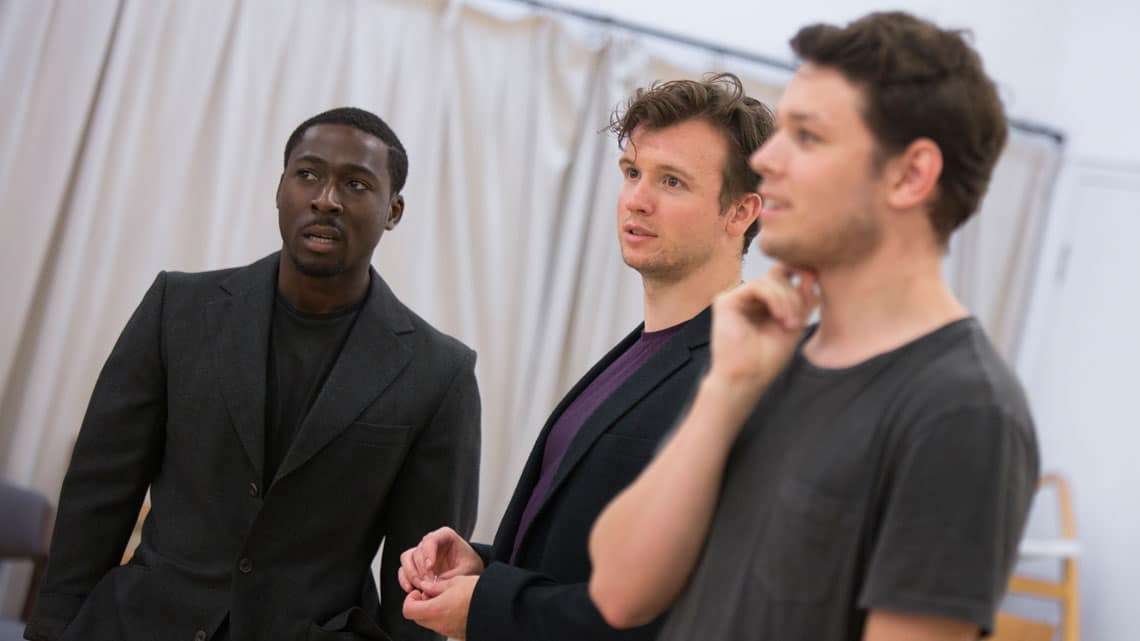 Eric Kofi Abrefa (Rick), Matt Whitchurch (Phil) and Sean Delaney (John) in Labyrinth at Hampstead Theatre. Photo by Ellie Kurttz | In rehearsal: Labyrinth at Hampstead Theatre