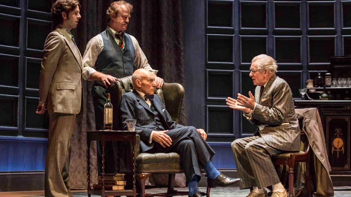 Ian McKellen as Spooner, Patrick Stewart as Hirst, Owen Teale as Briggs, Damien Molony as Foster in No Man's Land. Photo: Johan Persson | No Man's Land starring Patrick Stewart and Ian McKellen