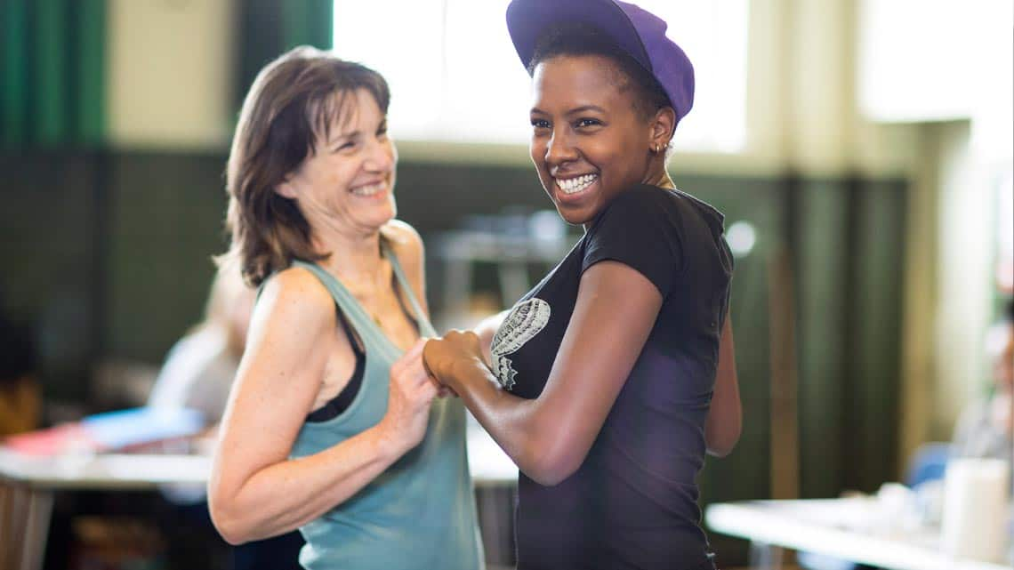Harriet Walter (Brutus, King Henry IV,  Prospero) and Jade Anouka (Mark Antony, Hotspur, Ariel)  by Helen Maybanks | In rehearsal: Donmar Shakespeare Trilogy