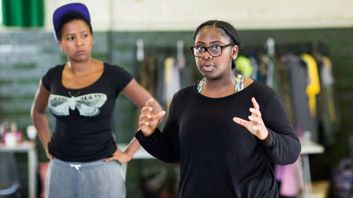 Shiloh Coke (Cinna the Poet, Mortimer, Musical Director) by Helen Maybanks | In rehearsal: Donmar Shakespeare Trilogy