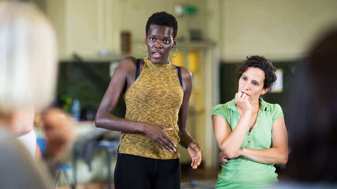 Sheila Atim (Lucius, The Douglas, Ferdinand) by Helen Maybanks | In rehearsal: Donmar Shakespeare Trilogy