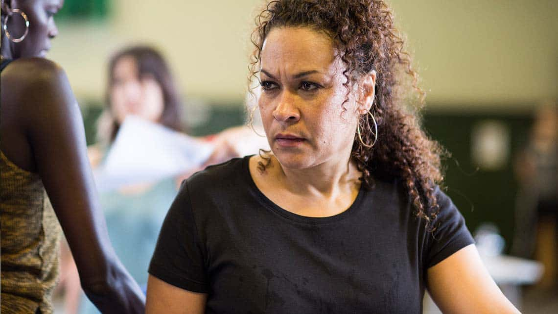 Martina Laird (Cassius, Worcester and Peto, Alonso)  by Helen Maybanks | In rehearsal: Donmar Shakespeare Trilogy