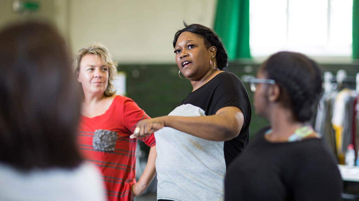 Jennifer Joseph (Trebonius, Sir Walter Blunt and Sheriff) by Helen Maybanks | In rehearsal: Donmar Shakespeare Trilogy