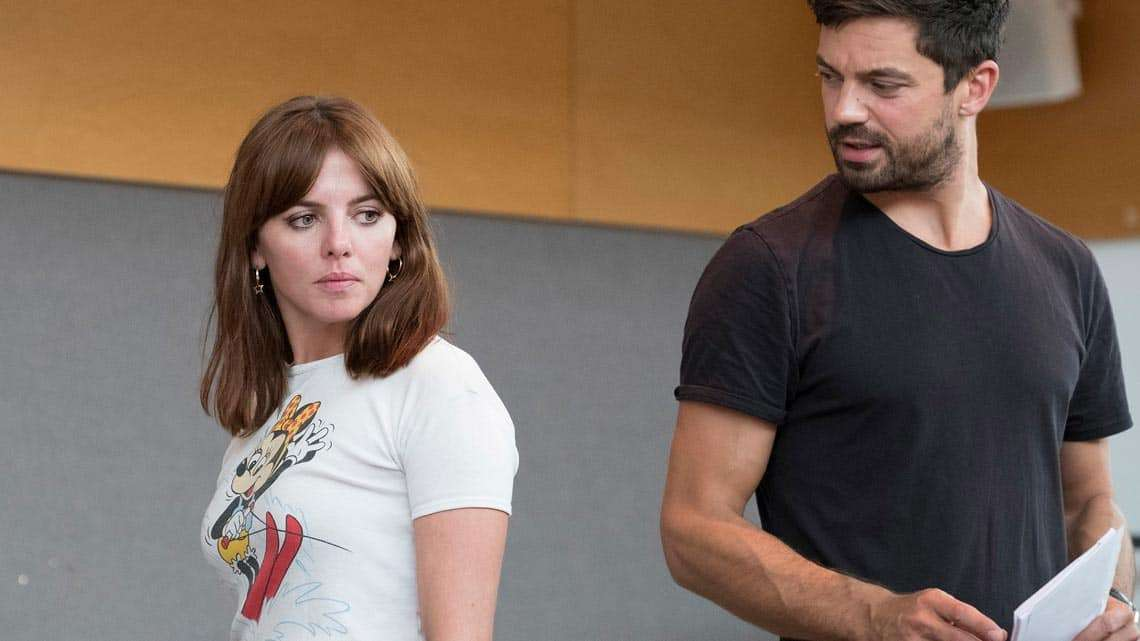 Ophelia Lovibond and Dominic Cooper in rehearsals for The Libertine. Photo: Alastair Muir | In rehearsal: Dominic Cooper in The Libertine
