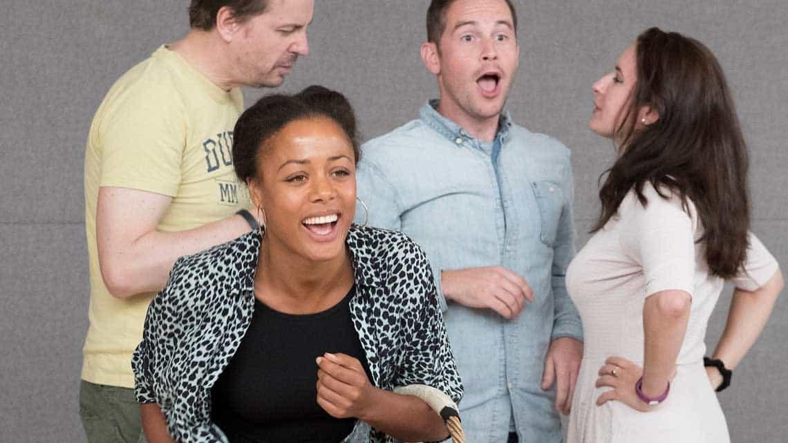 Jonathan Hansler, Nina Toussaint-White, James Marchant, Lydia Piechowiak in rehearsals for The Libertine. Photo: Alastair Muir   In rehearsal: Dominic Cooper in The Libertine