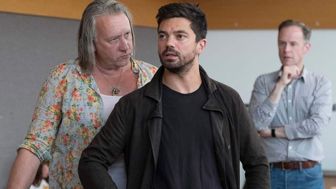 Jasper Britton, Dominic Cooper and Richard Teverson in rehearsals for The Libertine. Photo: Alastair Muir | In rehearsal: Dominic Cooper in The Libertine
