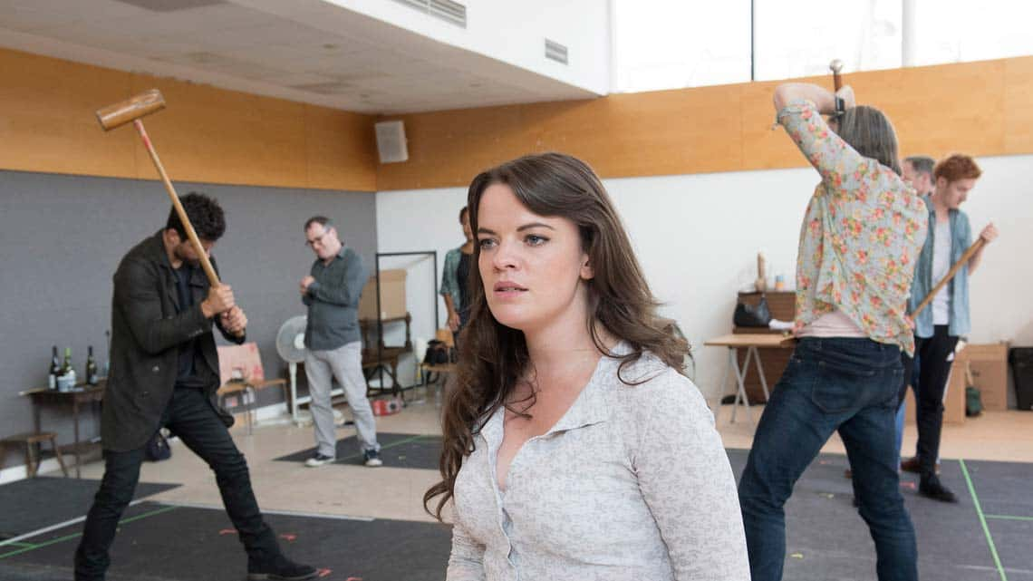 Dominic Cooper, Alice Bailey Johnson, Jasper Britton and Will Merrick in rehearsals for The Libertine. Photo: Alastair Muir | In rehearsal: Dominic Cooper in The Libertine