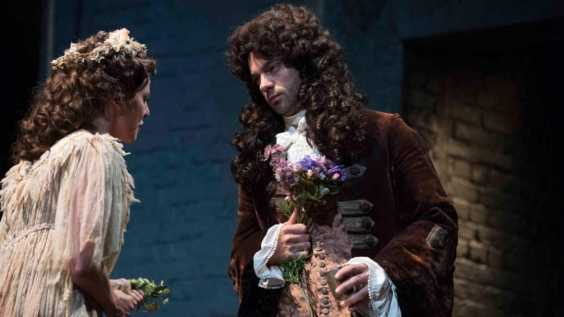 Ophelia Lovibond & Dominic Cooper in The Libertine. Photo: Alastair Muir | The Libertine at the Theatre Royal Haymarket