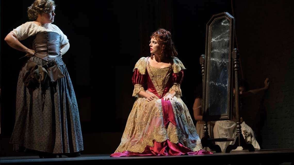 Lizzie Roper & Ophelia Lovibond in The Libertine. Photo: Alastair Muir | The Libertine at the Theatre Royal Haymarket