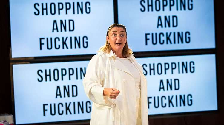 Ashley McGuire in Shopping and Fucking  Photo: Helen Murray | Photos: Shopping and Fucking at Lyric Hammersmith