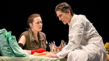Clare Dunne (Prince Hal) and Harriet Walter (Henry IV) in Henry IV - Photo: Helen Maybanks