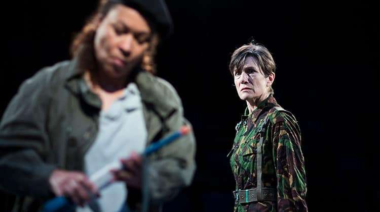 Martina Laird (Cassius) and Harriet Walter (Brutus) in Julius Caesar - Photo: Helen Maybanks