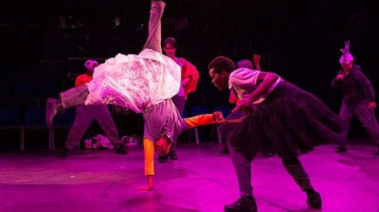 Leah Harvey (Miranda), Sheila Atim (Ferdinand) in The Tempest - Photo: Helen Maybanks