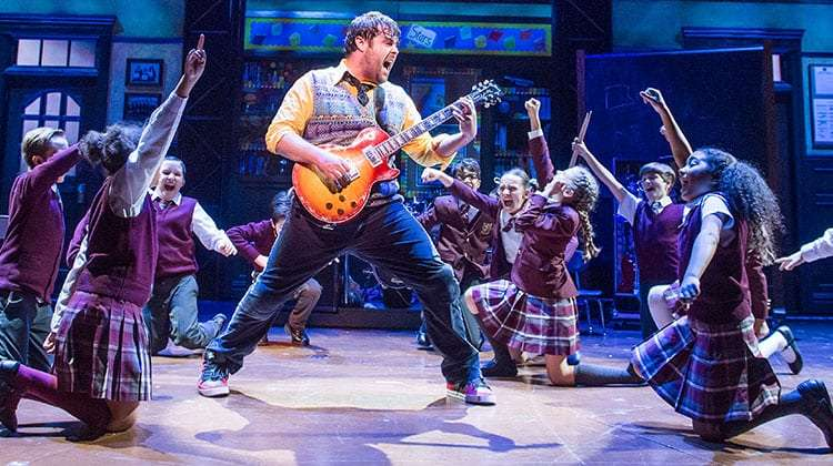 David Fynn with cast from School of Rock photo by Tristram Kenton | First Look: School of Rock – The Musical