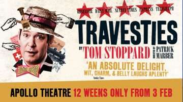 Artwork for Travesties at Apollo Theatre starring Tom Hollander, London, 2017