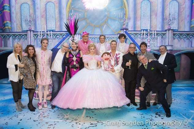 Gaby Roslin, Jane McDonald, Michael Harrison, Nick Thomas, Cliff Richard, Jim Davidson and Laurie Mansfield with the cast | Photo: Craig Sugden | In Pictures: Cinderella opening night at London Palladium