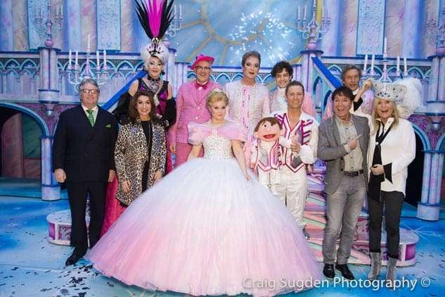 Jim Davidson, Jane McDonald, Cliff Richard and Gaby Roslin with cast | Photo: Craig Sugden | In Pictures: Cinderella opening night at London Palladium