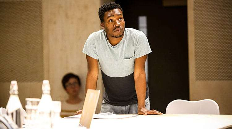Fisayo Akinade in rehearsal for Saint Joan at the Donmar Warehouse. Photo: Jack Sain | In rehearsal: Gemma Arterton in Saint Joan