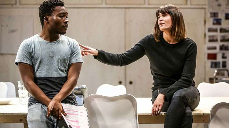 Fisayo Akinade  and Gemma Arterton in rehearsal for Saint Joan at the Donmar Warehouse. Photo: Jack Sain | In rehearsal: Gemma Arterton in Saint Joan