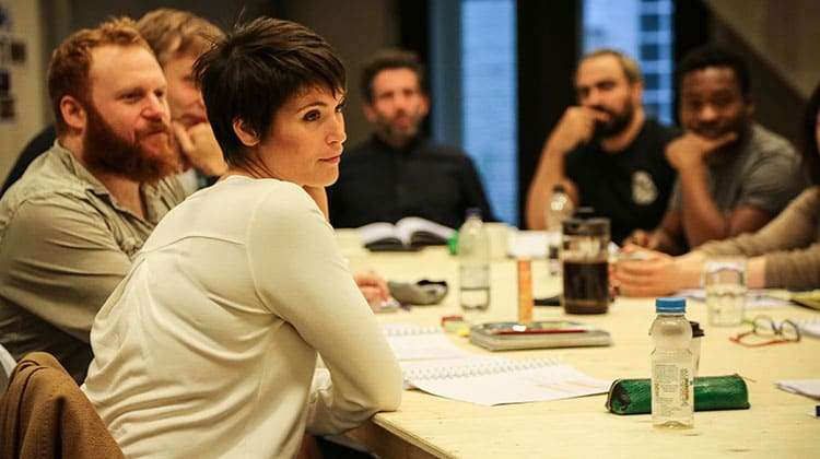 Gemma Arterton in rehearsal for Saint Joan at the Donmar Warehouse. Photo: Jack Sain | In rehearsal: Gemma Arterton in Saint Joan