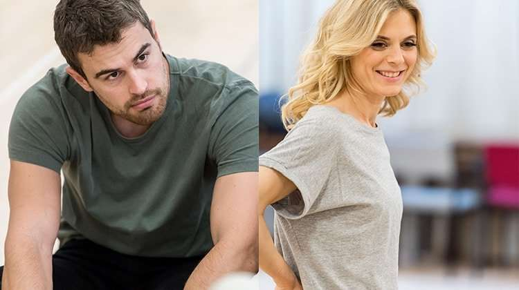 Emilia Fox & Theo James in Sex With Strangers. Photo: Manuel Harlan | First Look: Theo James and Emilia Fox in Sex With Strangers
