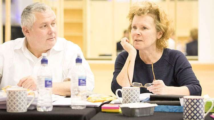 Conlet Hill & Imelda Staunton | Who's Afraid of Virginia Woolf?  | Credit: Johan Persson | First Look: Imelda Staunton in rehearsal for Who's Afraid of Virginia Woolf?