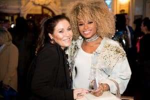 Jessie Wallace and Fleur East at Gala Performance of Beautiful - The Carole King Musical, Aldwych Theatre, London, 2017
