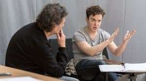 Joshua McGuire in rehearsal for Rosencrantz & Guildenstern Are Dead at the Old Vic Theatre, London 2017