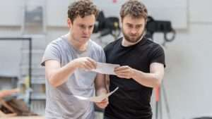 Joshua McGuire & Daniel Radcliffe in rehearsal for Rosencrantz & Guildenstern Are Dead at the Old Vic Theatre, London 2017