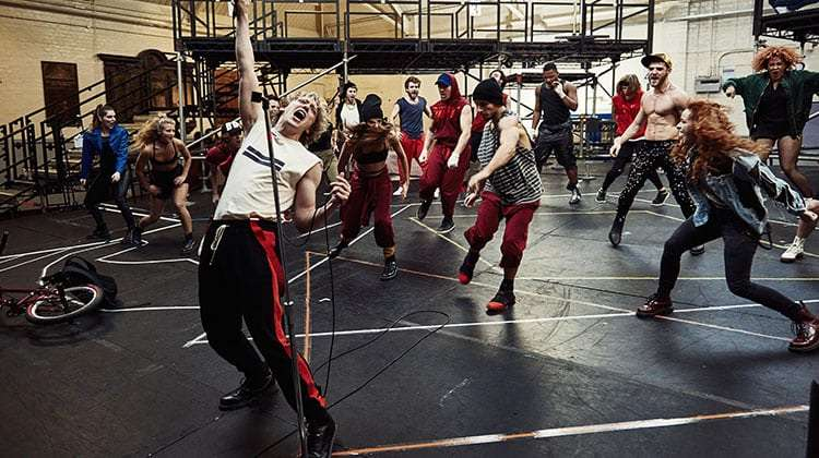 Andrew Polec in rehearsal for Bat Out Of Hell The Musical, UK production, 2017