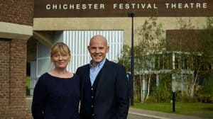 Daniel Evans and Rachel Tackley outside Chichester Festival Theatre, Chichester, 2017