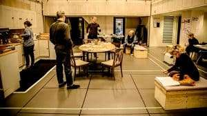Cast in rehearsal for Donmar Warehouse production of Limehouse, London, 2017