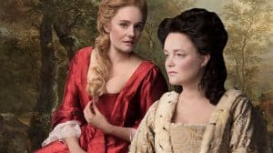 Romola Garai and Emma Cunniffe in Queen Anne, Theatre Royal Haymarket, London 2017