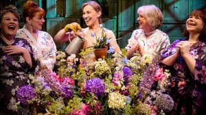 Claire Machin, Sophie-Louise Dann, Joanna Riding, Claire Moore and Debbie Chazen in The Girls, Phoenix Theatre, London, 2017