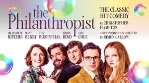 Artwork for The Philanthropist starring Charlotte Richie, Matt Berry, Tom Rosenthal, Simon Bird and Lily Cole