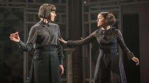 Tamsin Greig and Phoebe Fox in Twelfth Night at the National Theatre, Directed by Simon Godwin.