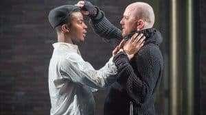 Daniel Ezra & Adam Best in Twelfth Night at the National Theatre, Directed by Simon Godwin. 2017