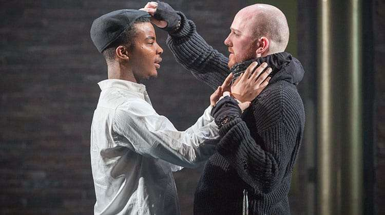 Daniel Ezra & Adam Best in Twelfth Night at the National Theatre, Directed by Simon Godwin. 2017