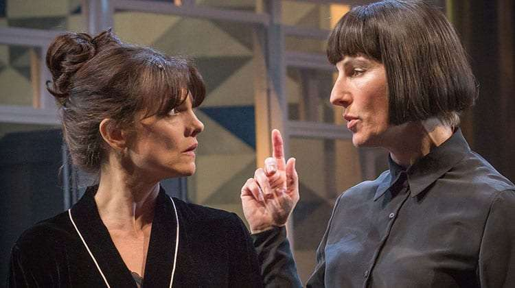 Niky Wardley & Tamsin Greig in Twelfth Night at the National Theatre, Directed by Simon Godwin.