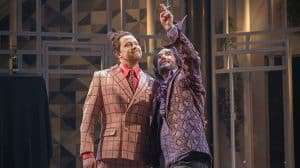 Daniel Rigby & Tim McMullan in Twelfth Night at the National Theatre, Directed by Simon Godwin.