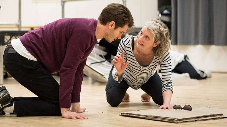 Amanda Lawrence and Andrew Garfield rehearse Angels in America at the National Theatre (c) Helen Maybanks | In rehearsal: Angels in America